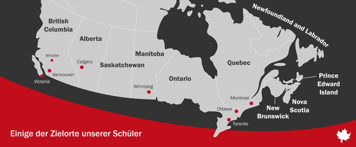 Ausgewählte Ziele von isec-Schülern in Kanada